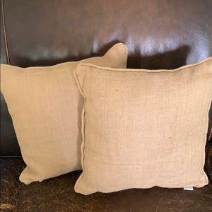 Mud Pie Burlap Pillows~Set of 2